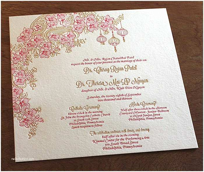 letterpress wedding invitations asian collection