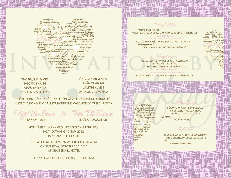 Traditional Vietnamese Wedding Invitations Printable Bilingual Vietnamese Wedding Invitation Set