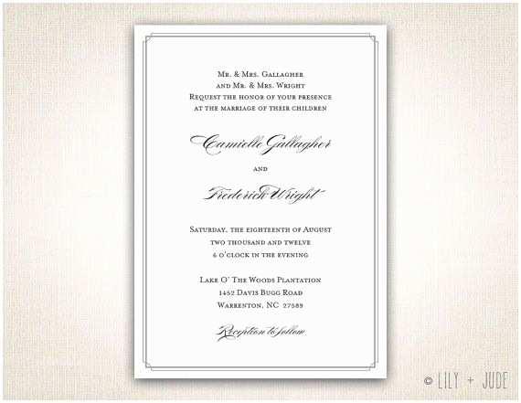 Traditional Wedding Invitation Wording Traditional Wedding Invitation Plain Border Invitation Diy