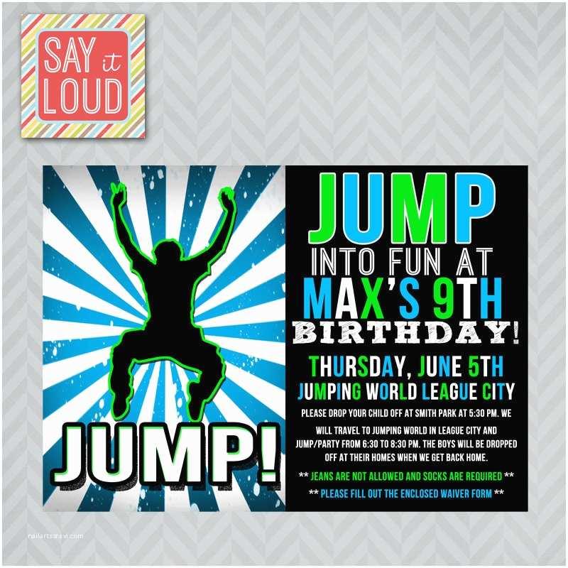 Trampoline Birthday Party Invitations Custom Jump or Trampoline Party Invitation