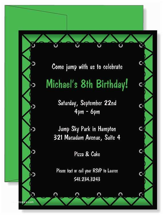 Trampoline Birthday Party Invitations Custom Personalized Green Jump Boys By