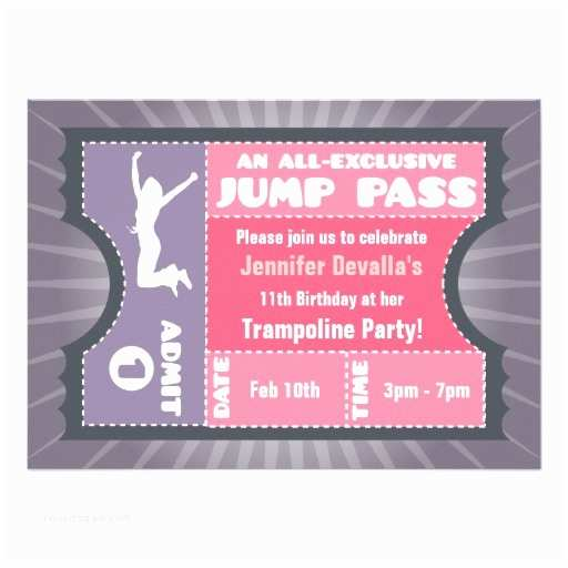 Trampoline Birthday Party Invitations Personalized