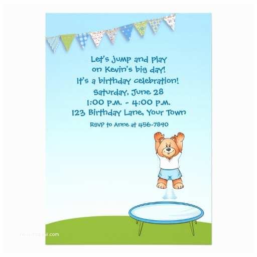 Trampoline Birthday Party Invitations Trampoline Bear Birthday 5x7 Paper Invitation Card