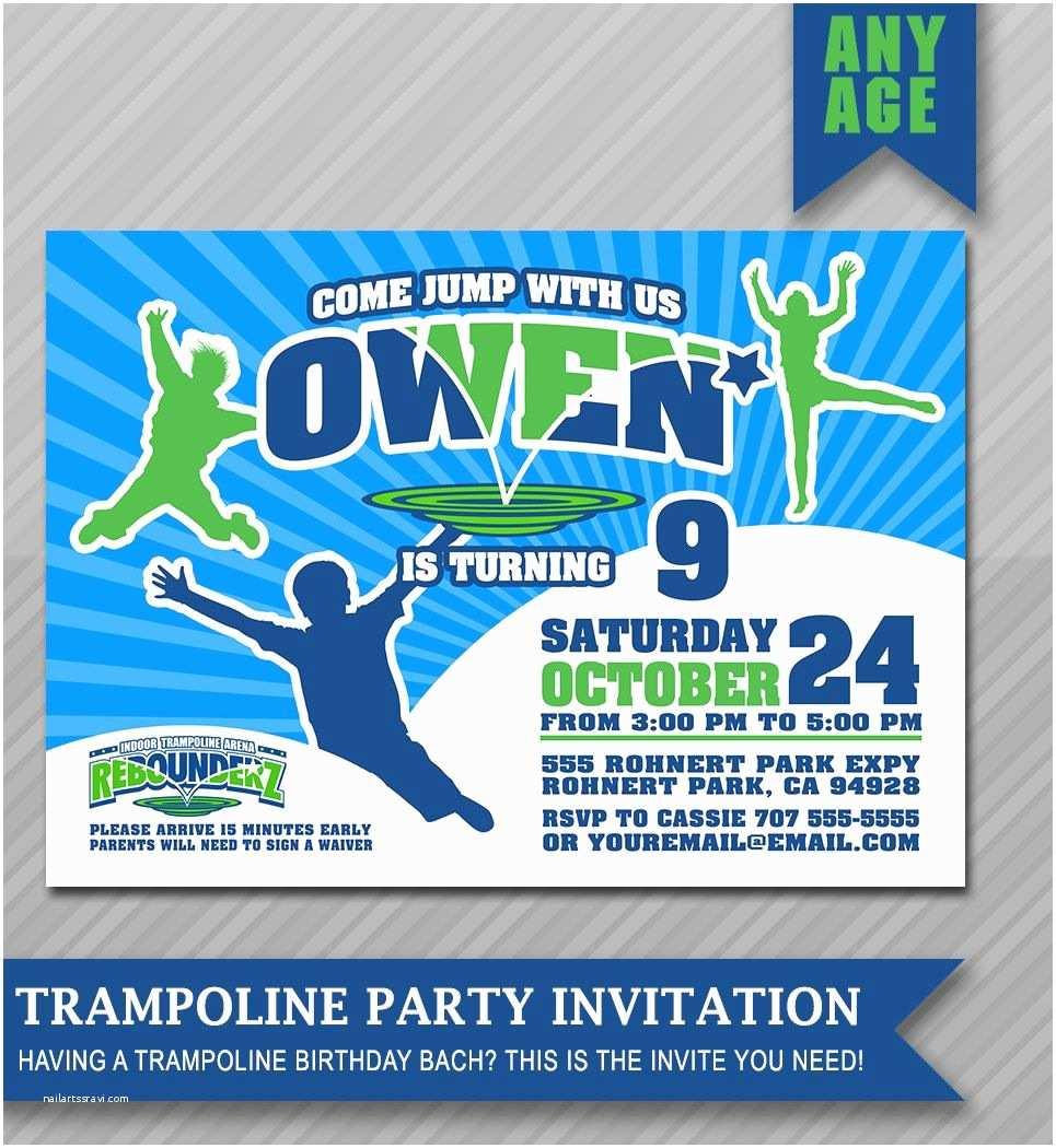 Trampoline Birthday Party Invitations Invitation Bounce House