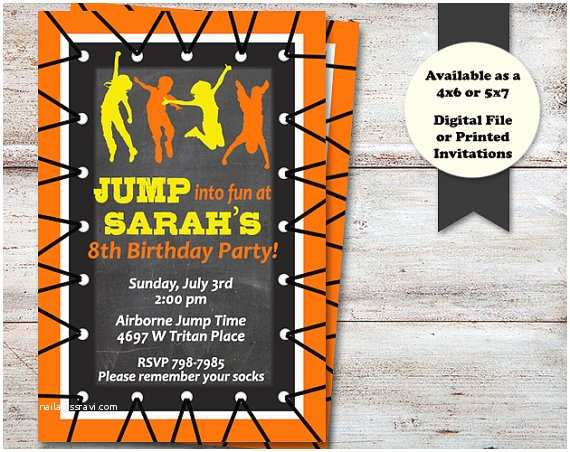 Trampoline Birthday Party Invitations Bounce