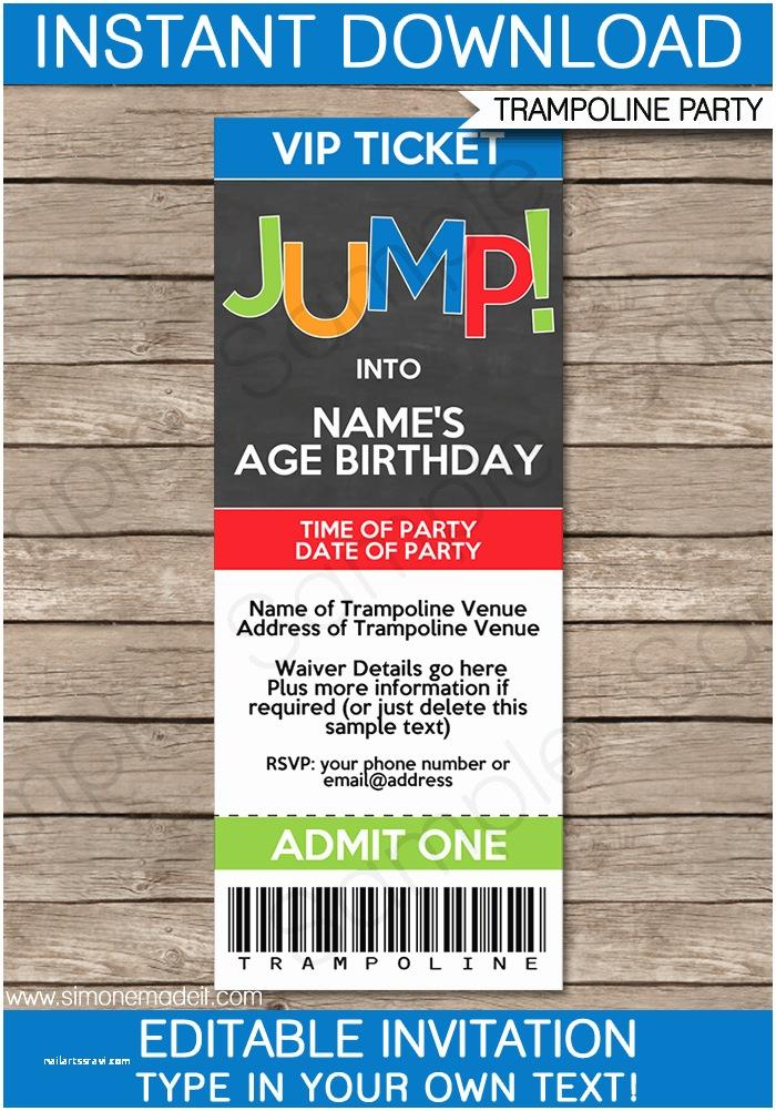 Trampoline Birthday Party Invitations Trampoline Party Ticket Invitations Template – Boys