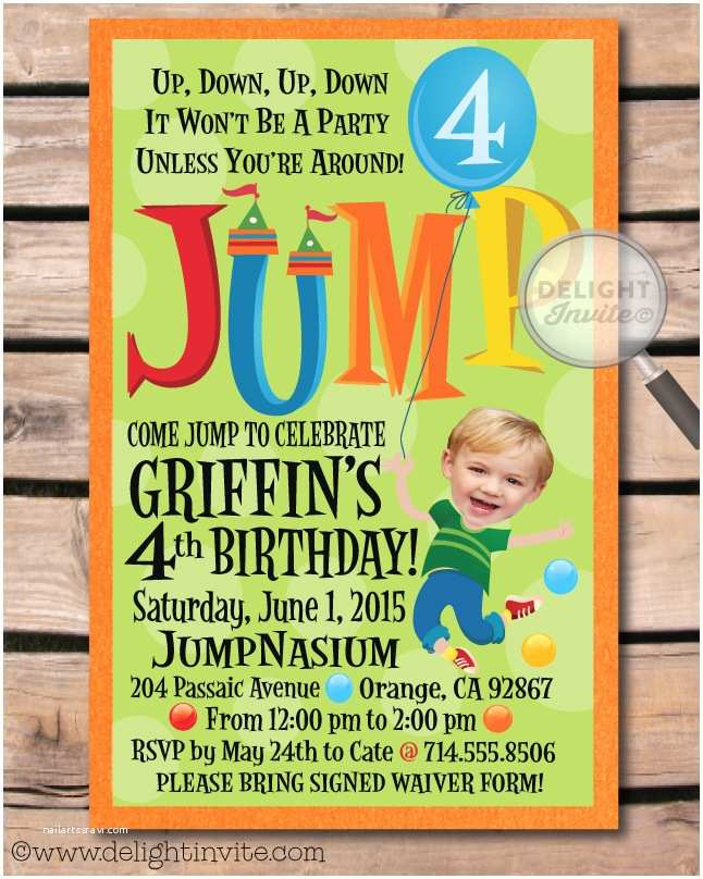 Trampoline Party Invitations Bounce House Jump Party Envelope [di 301env] Harrison