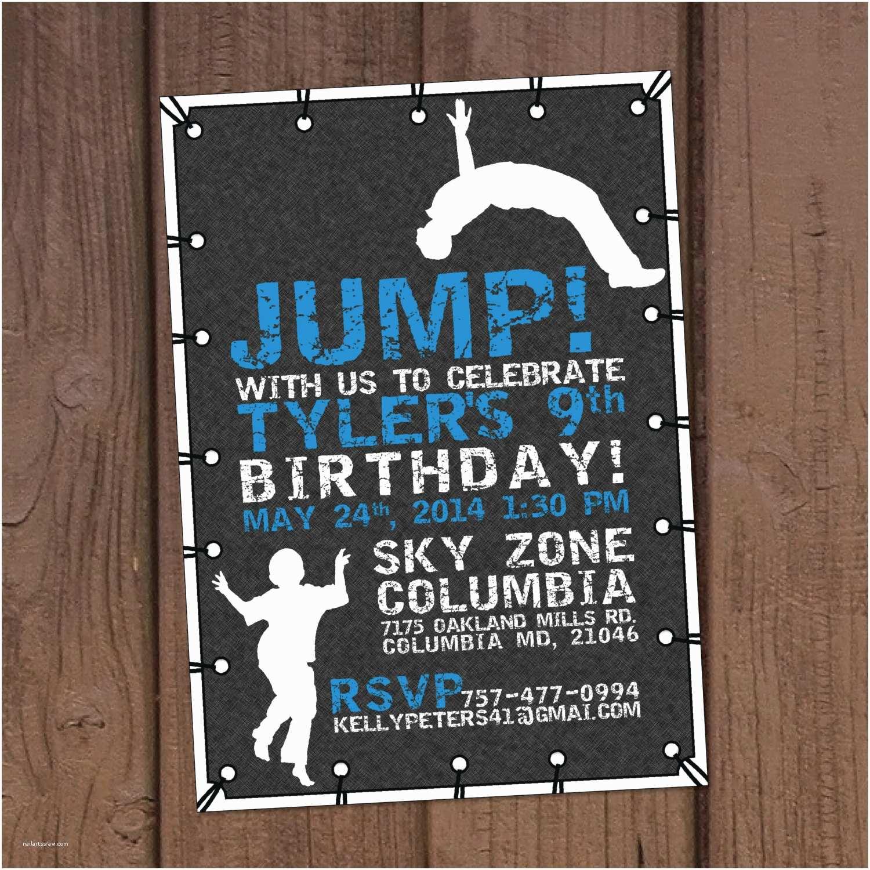 Trampoline Party Invitations Jump Trampoline Park Birthday Party Invitation