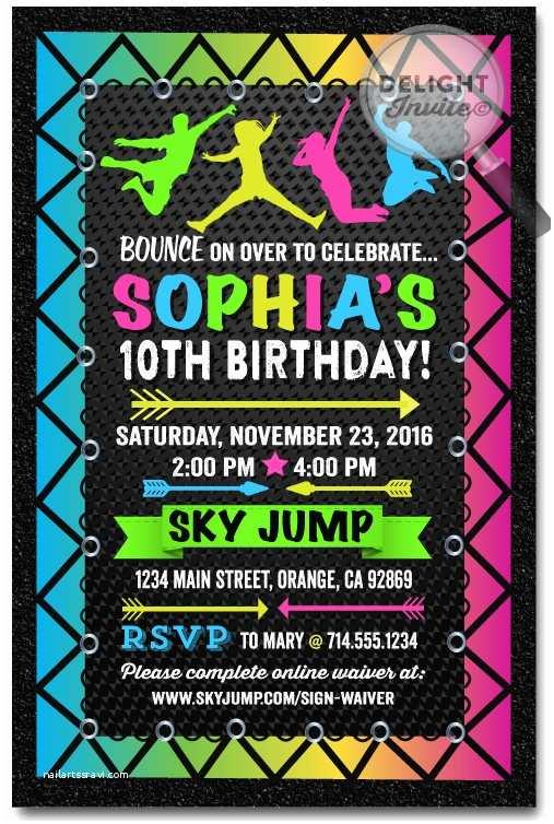 Trampoline Party Invitations Neon Trampoline Jump Party Birthday Invitations [di 647