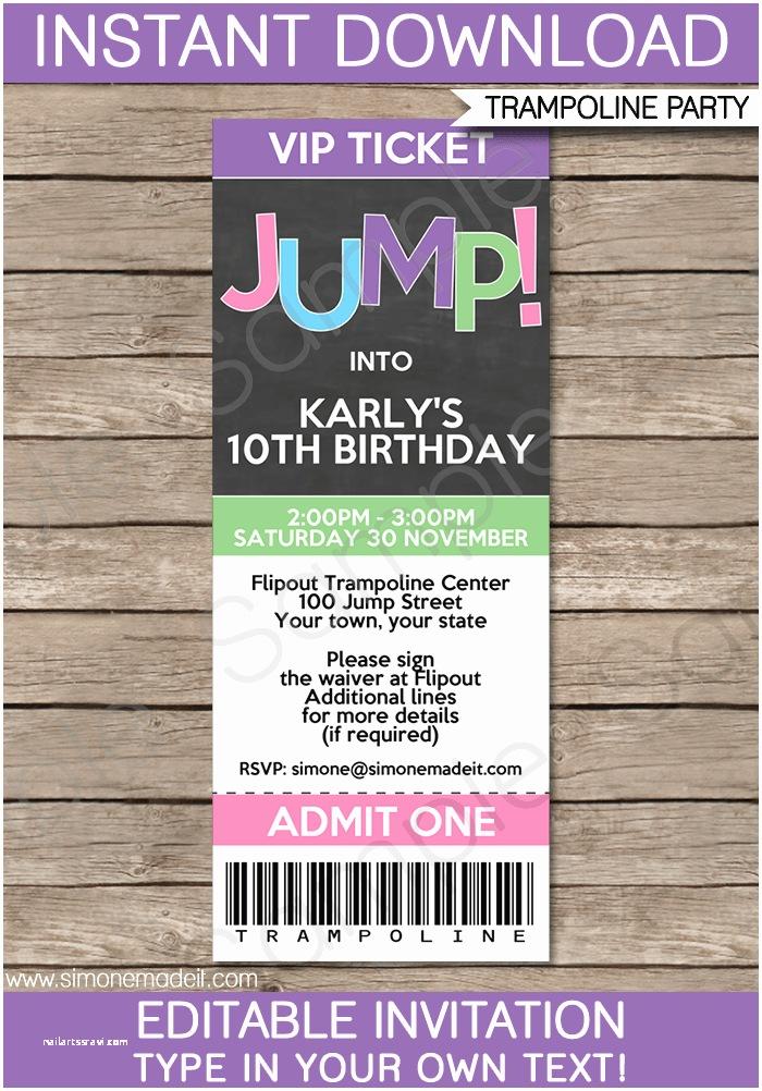 Trampoline Party Invitations Trampoline Birthday Party Ticket Invitations