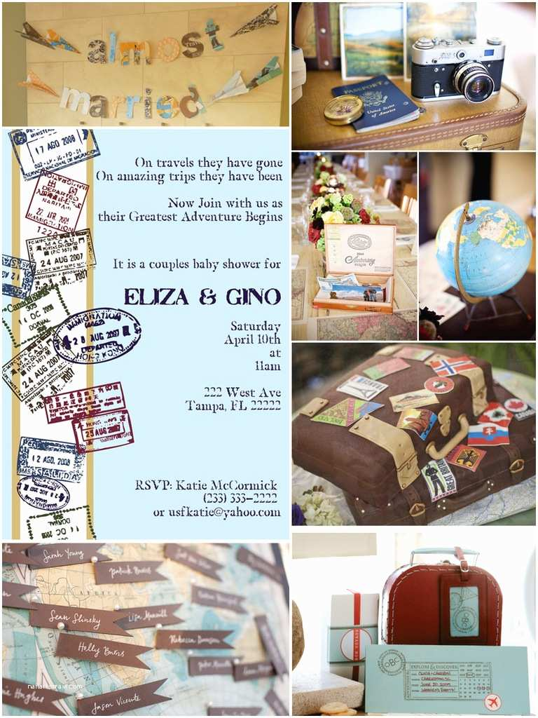 Travel themed Wedding Shower Invitations Bella Grace Party Designs Inspiration Travel themed Shower