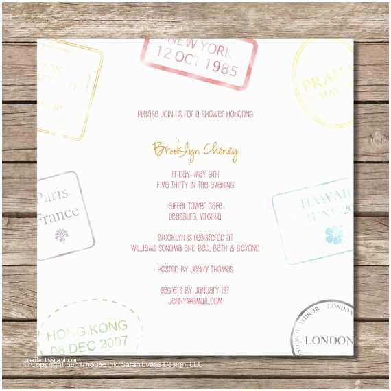 Travel themed Wedding Shower Invitations Passport Stamp Bridal Shower Invitation Perfect by