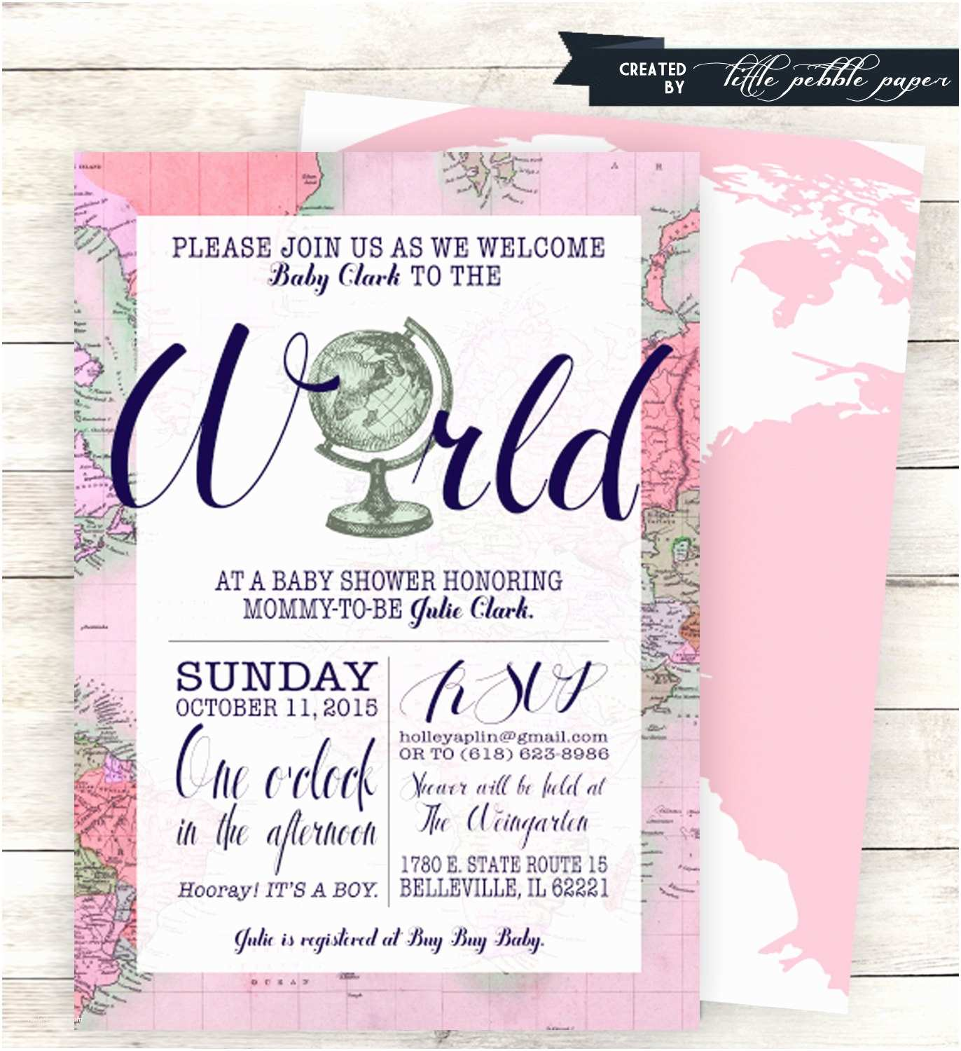 Travel themed Wedding Shower Invitations Pink Wel E to the World Baby Shower Invitation Printable