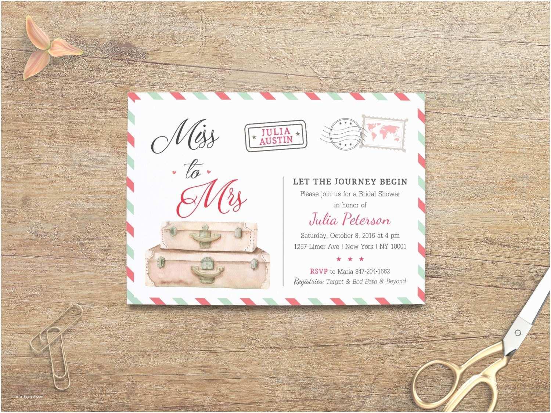 Travel themed Wedding Shower Invitations Travel Bridal Shower Travel Invitations Miss to Mrs Invite