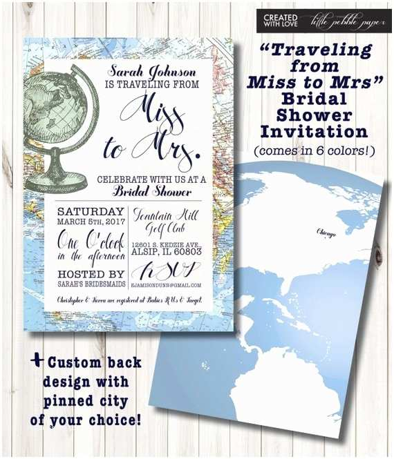 Travel themed Wedding Shower Invitations Travel themed Bridal Shower Invitation Around the World