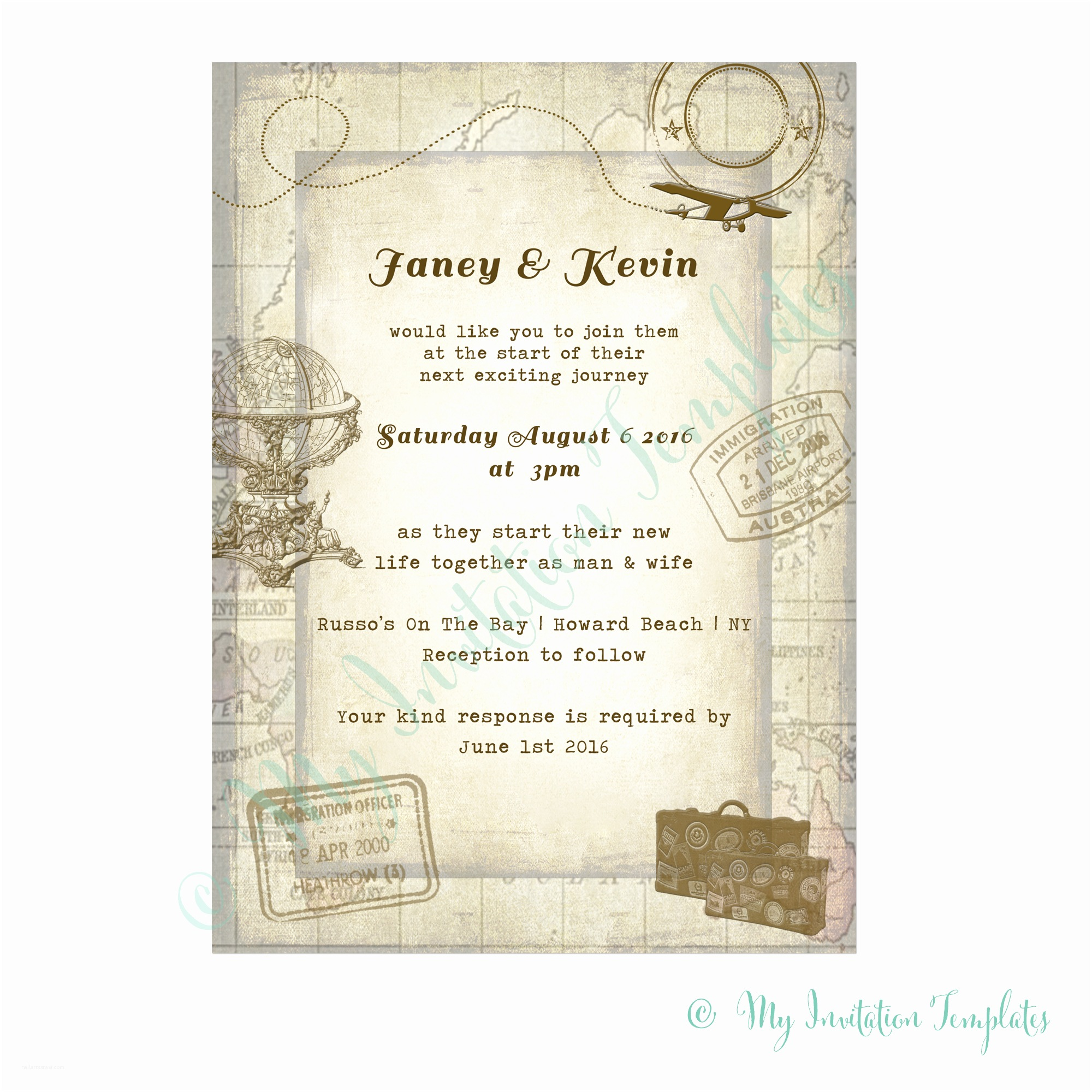 Travel themed Wedding Shower Invitations Travel Wedding Invitation Template