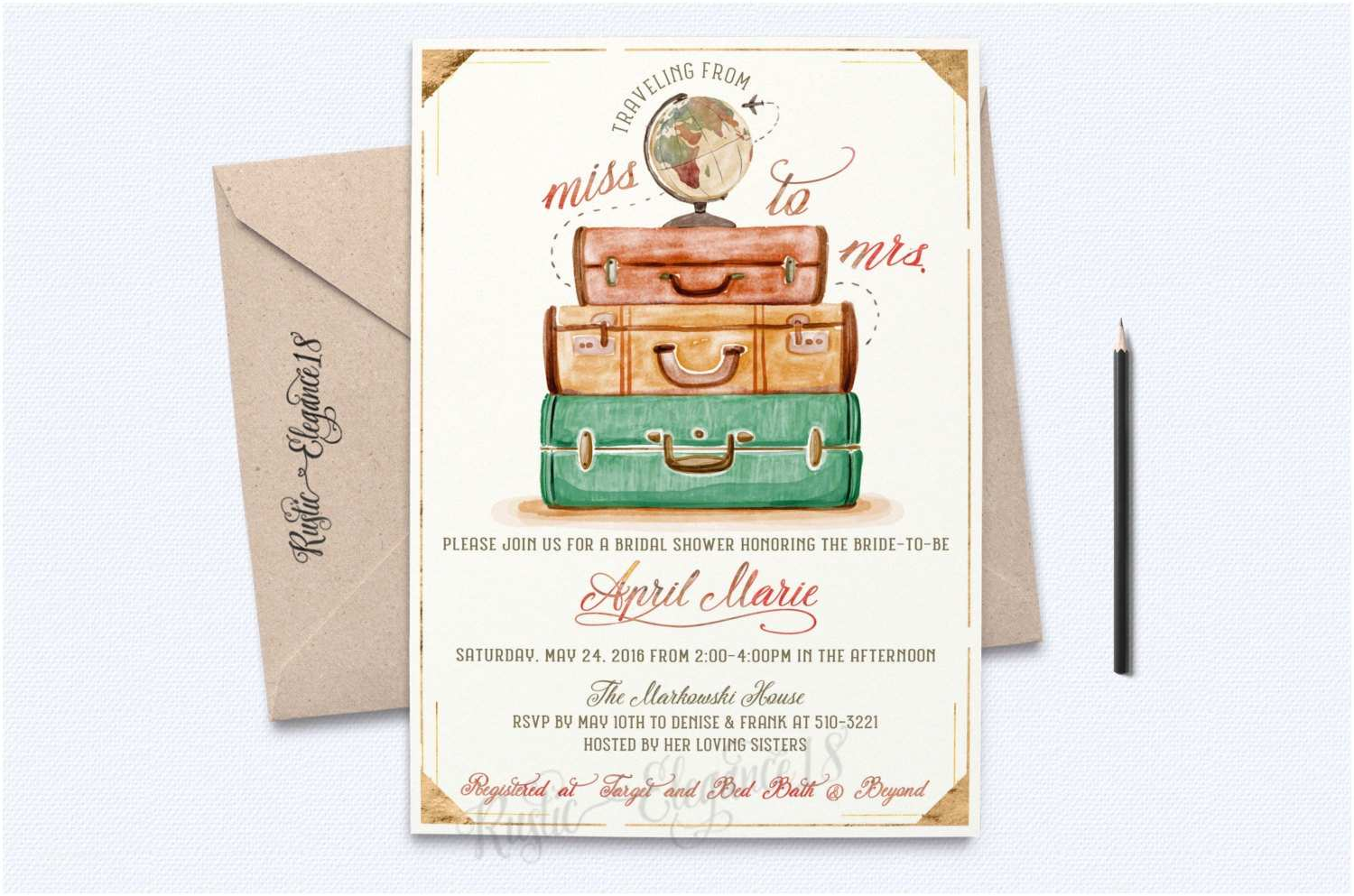 Travel themed Wedding Shower Invitations Traveling From Miss to Mrs Bridal Shower Invite Vintage Bridal