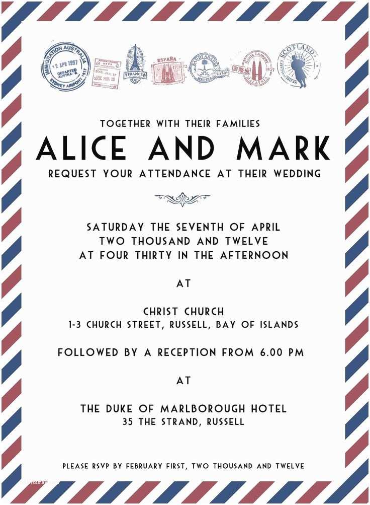 Travel Wedding Invitations Air Mail Travel Wedding Invitation Template