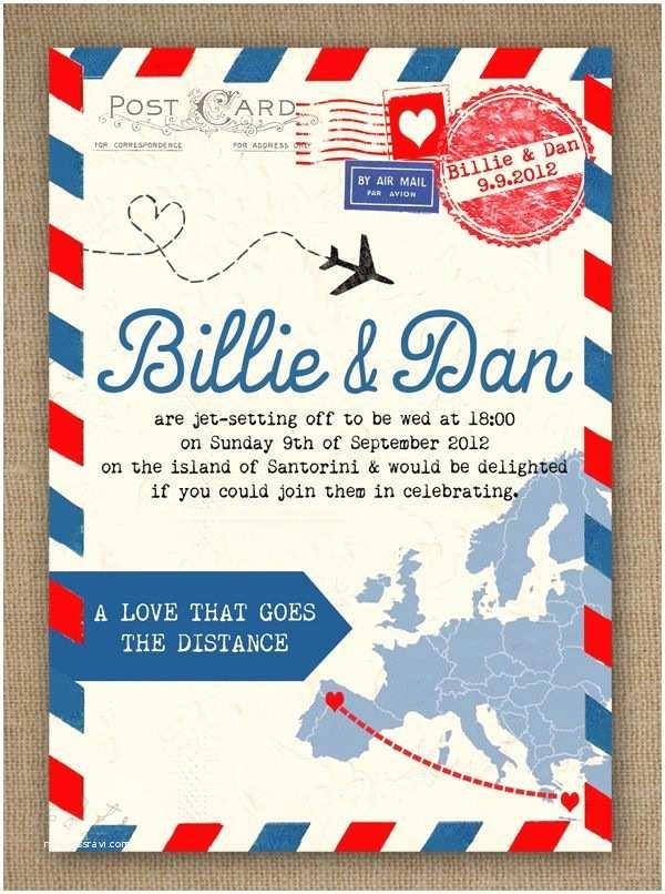 Travel Wedding Invitations Airmail Love Story Travel themed Vintage Style Wedding