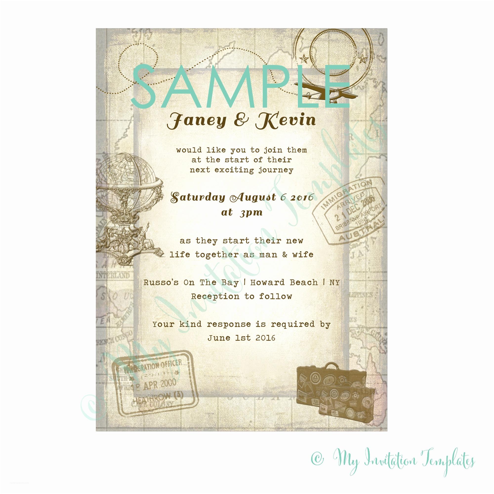 Travel Wedding Invitations Travel Invitation Template Free Sample