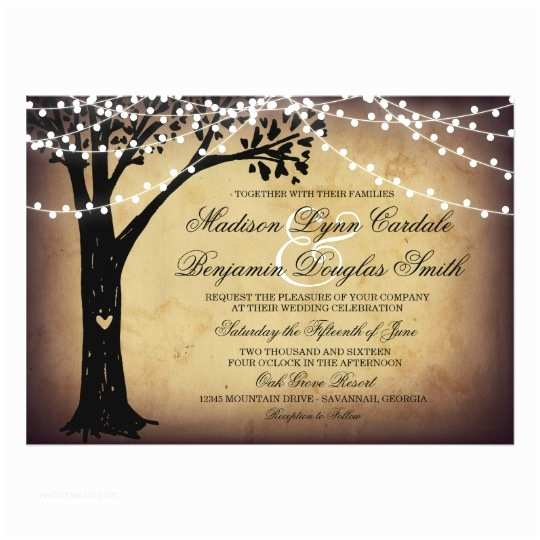 Tree Wedding Invitations String Of Lights Rustic Oak Tree Wedding Invites