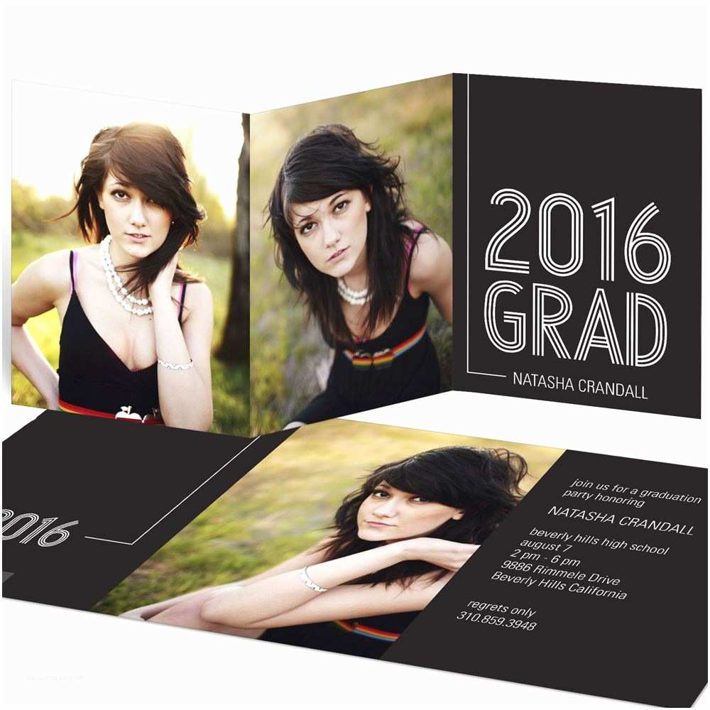 tri fold graduation invitations striped success trifold for her