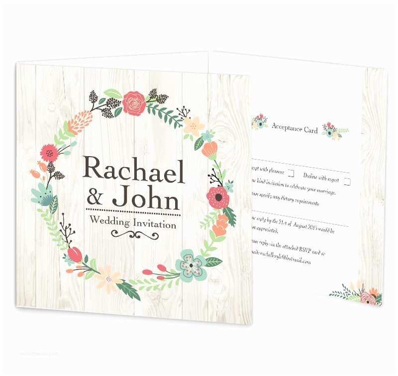 rustic romance tri fold wedding invitation rsvp