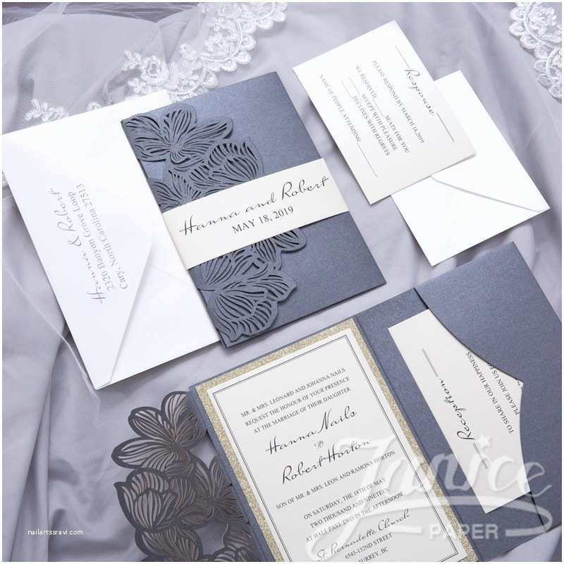 Tri Fold Wedding Invitations with Pocket Exquisite Flower Tri Fold Laser Cut wholesale Pocket