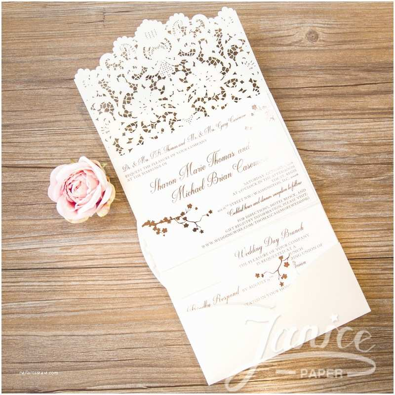 Tri Fold Wedding Invitations with Pocket Graceful Tri Fold Laser Cut Pocket wholesale Wedding Invi
