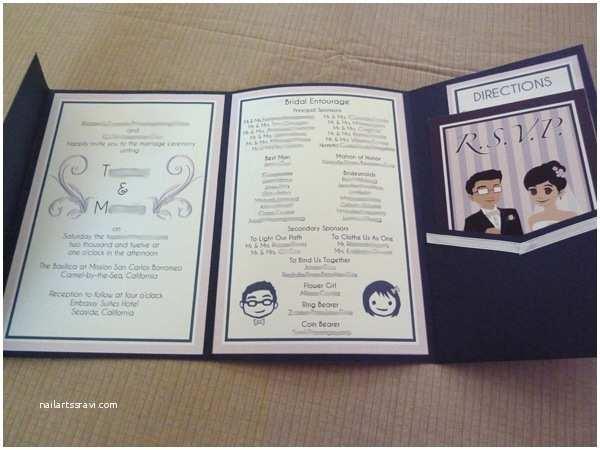 Tri Fold Wedding Invitations with Pocket Sakacon Invitation Wedding Card 3