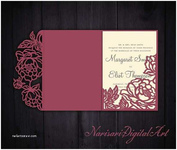 Tri Fold Wedding Invitations with Pocket Tri Fold Peonies 5x7 Wedding Invitation Pocket Envelope