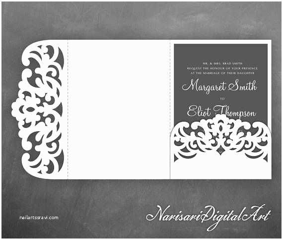 Tri Fold Wedding Invitations with Pocket Tri Fold Pocket Envelope 5x7 Wedding Invitation Svg