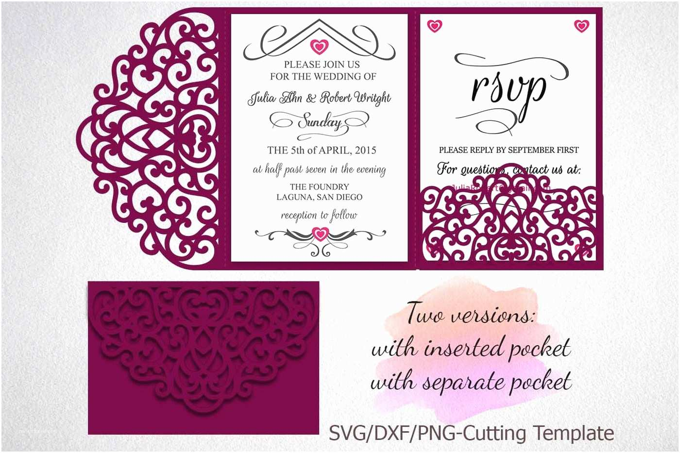 Tri Fold Wedding Invitations with Pocket Tri Fold Wedding Invitation Pocket Envelope Svg Template