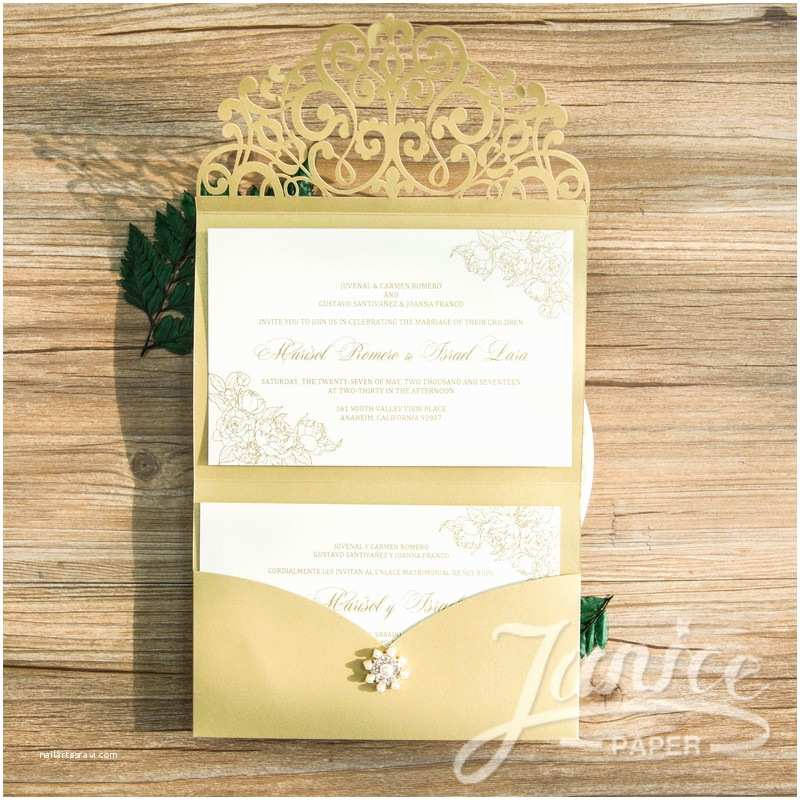 Tri Fold Wedding Invitations with Pocket wholesale Laser Cut Wedding Invites