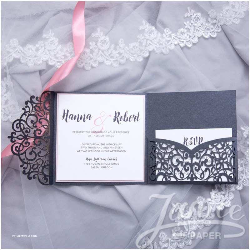 Tri Fold Wedding Invitations with Pocket wholesale Laser Cut Wedding Invites
