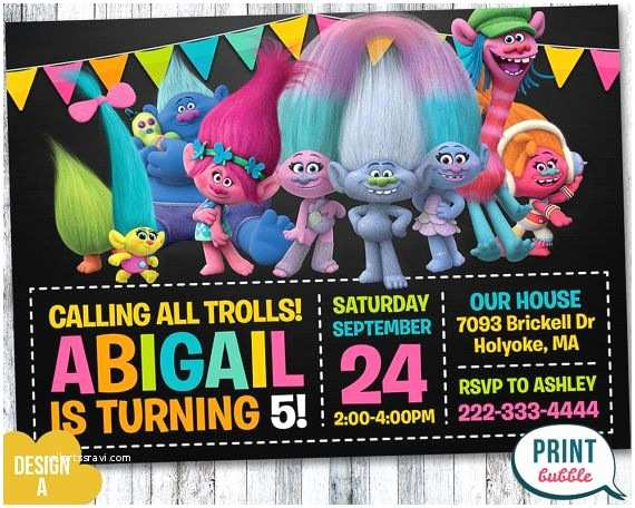 Trolls Birthday Party Invitations 32 Best Ideas Images On Pinterest