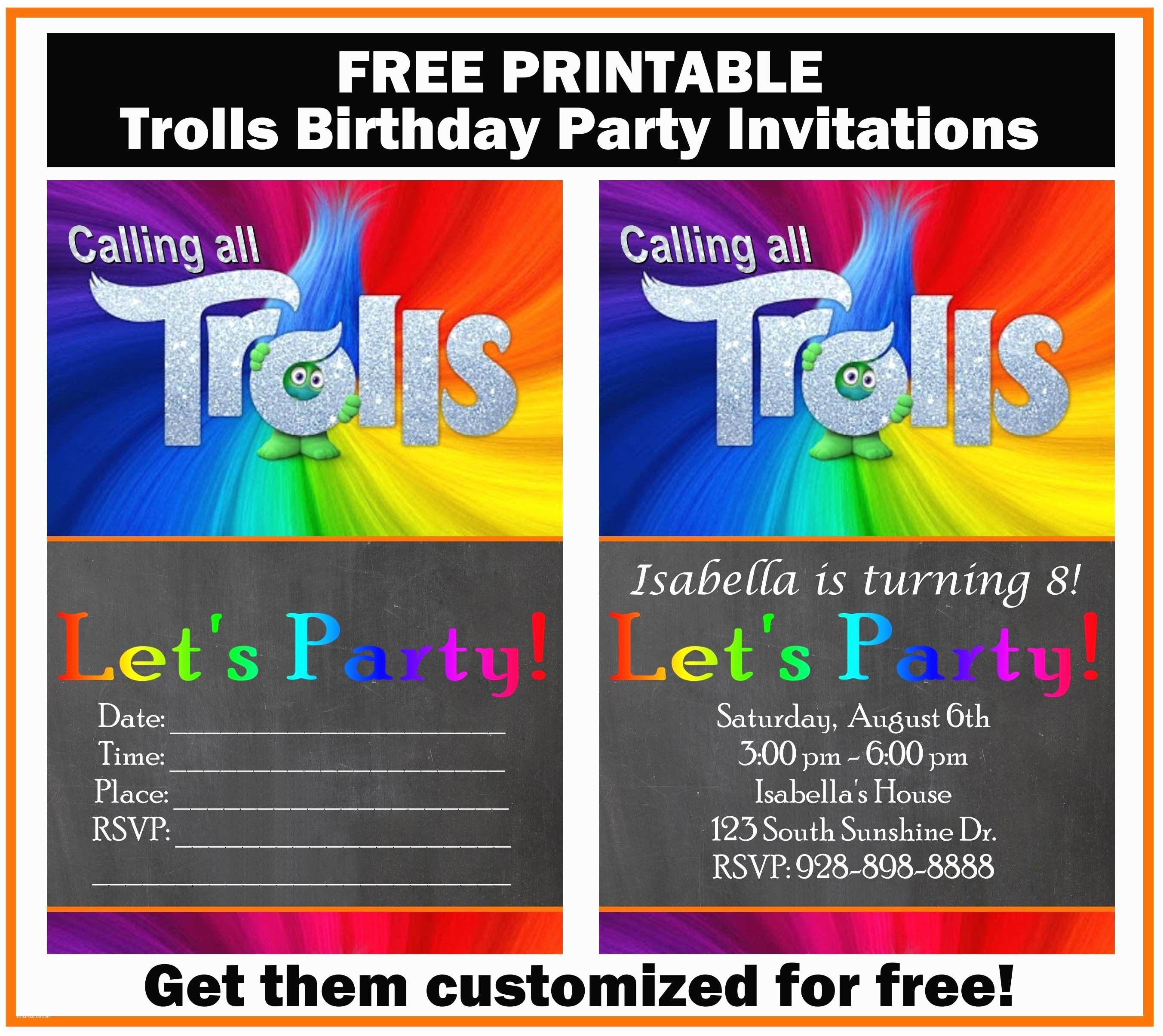 graphic regarding Printable Trolls Invitations named Trolls Birthday Occasion Invites No cost Trolls Birthday Bash