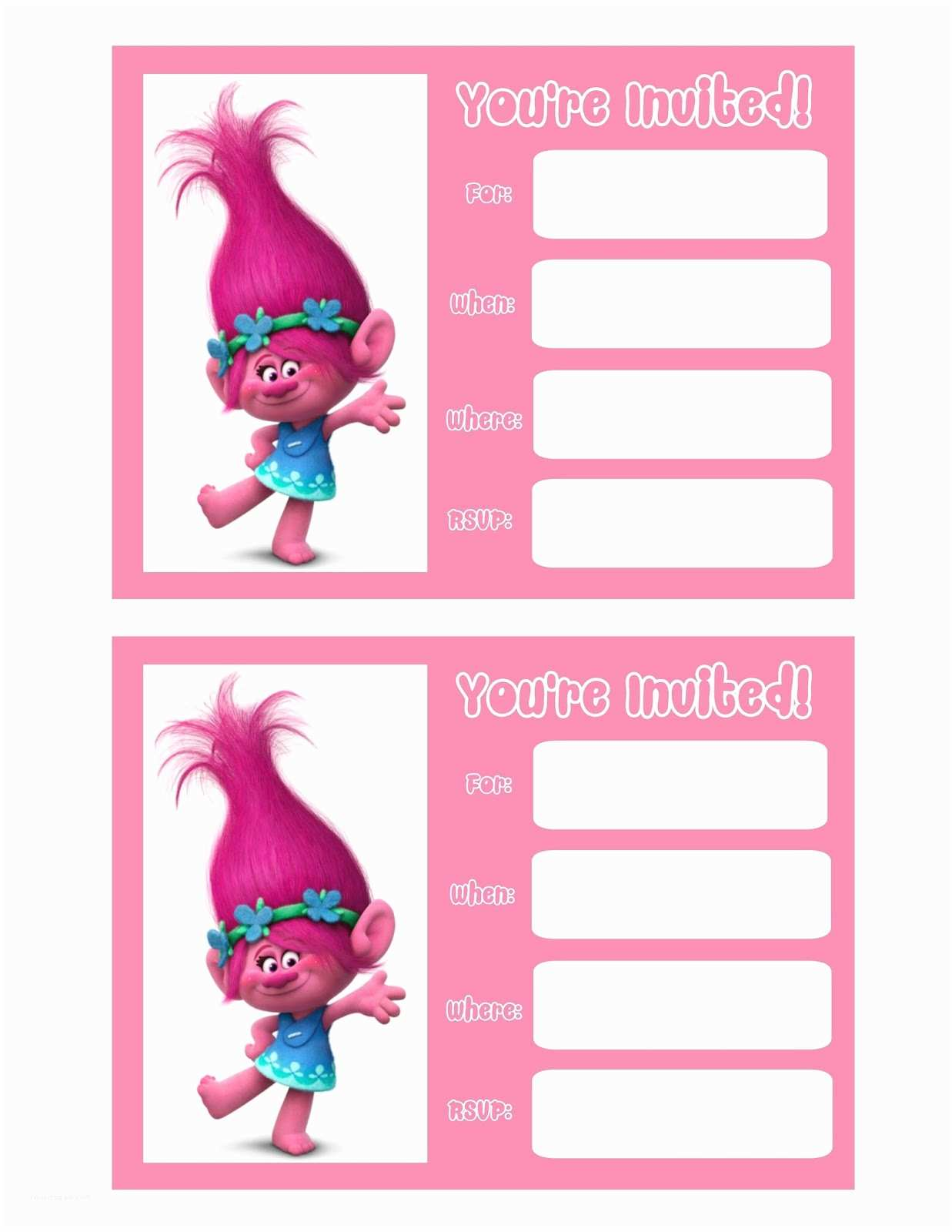 Trolls Birthday Party Invitations Musings Of An Average Mom Movie