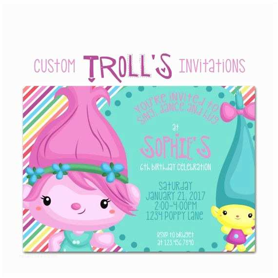 Trolls Birthday Party Invitations The Biggest And Best Dreamworks