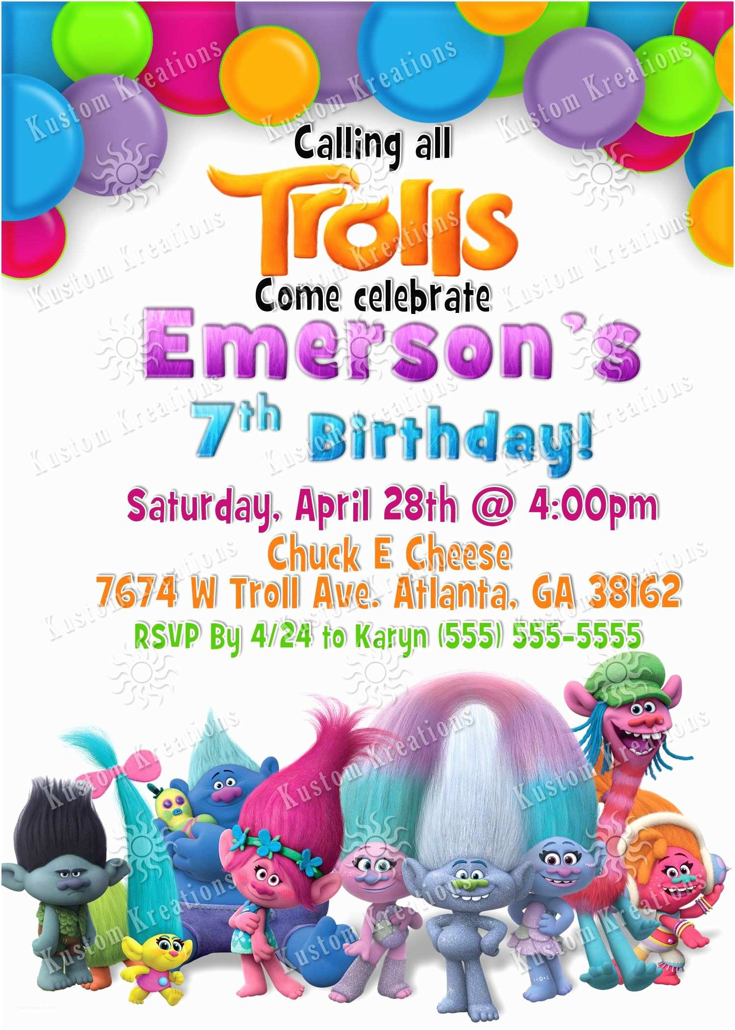 Trolls Birthday Party Invitations