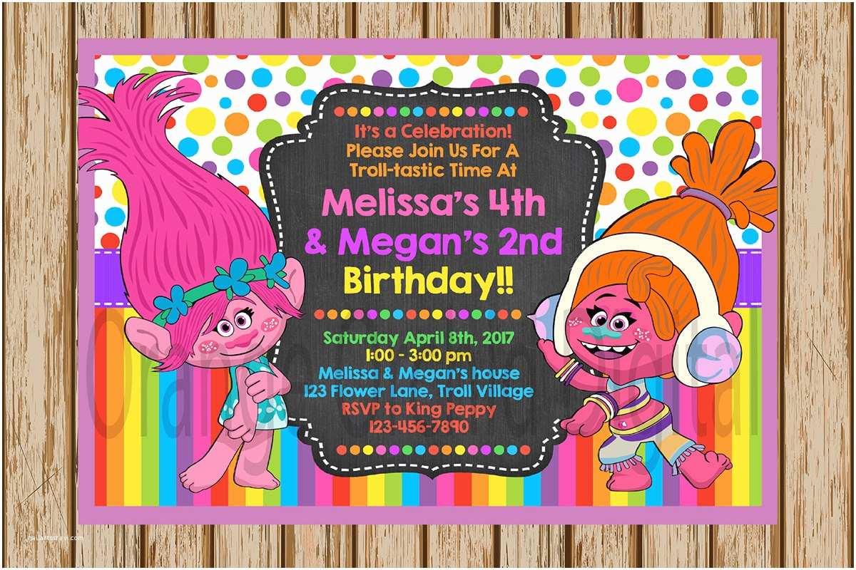 Trolls Birthday Party Invitations Poppy And