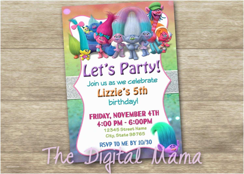 Trolls Birthday Party Invitations Invitation Movie
