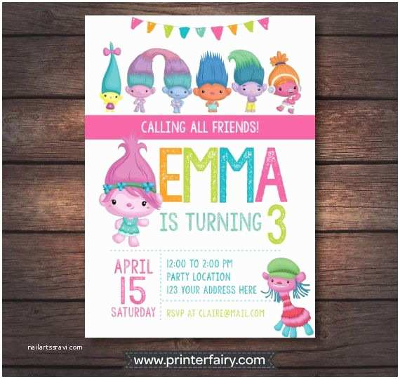Trolls Birthday Party Invitations Invitation