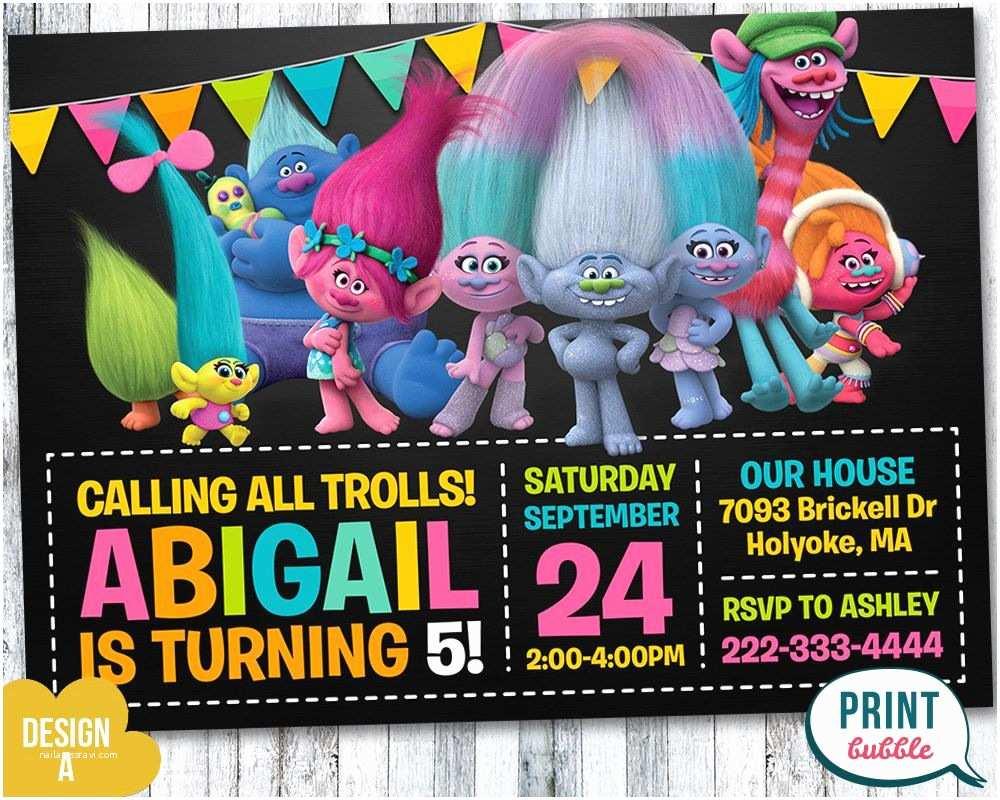 Trolls Birthday Party Invitations Invitation