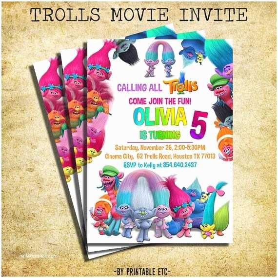 Trolls Birthday Party Invitations Trolls Invitation Trolls Movie Birthday Party Invite