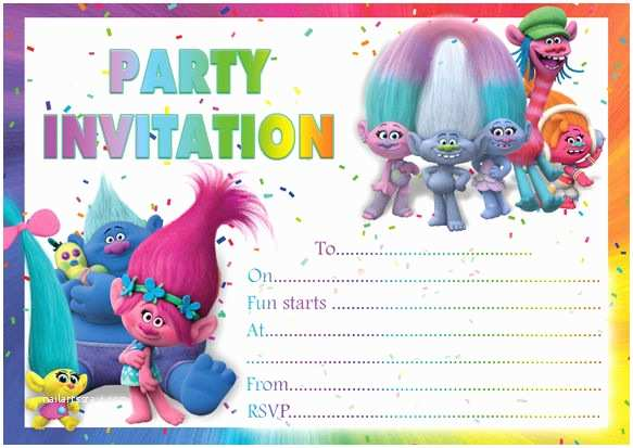 image regarding Printable Trolls Invitations named Trolls Celebration Invites No cost Printable Trolls Invitation
