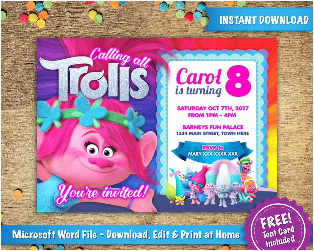 Trolls Party Invitations Diy Printable 5x7 Poppy Birthday Invitation