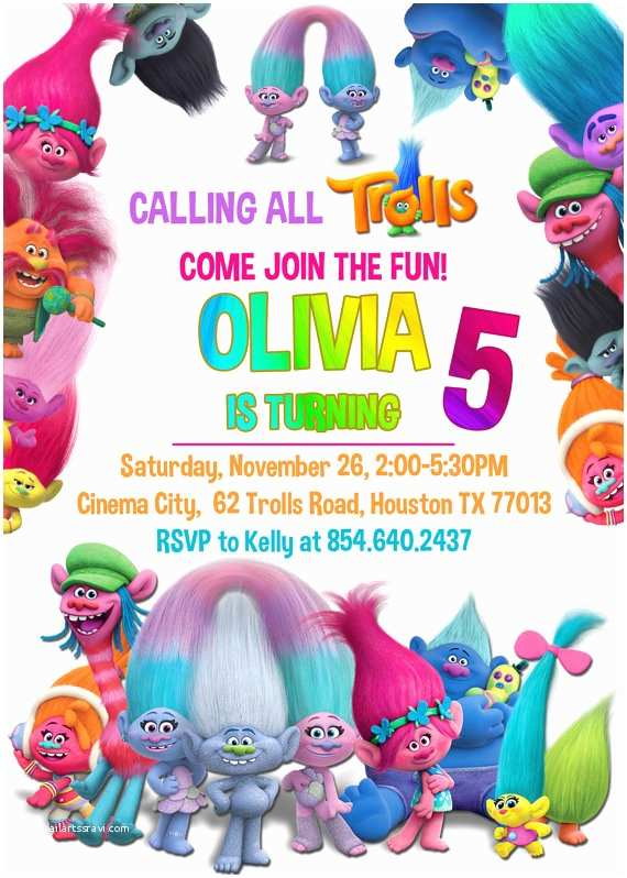 Trolls Party Invitations Free Printable Trolls Invitation Template