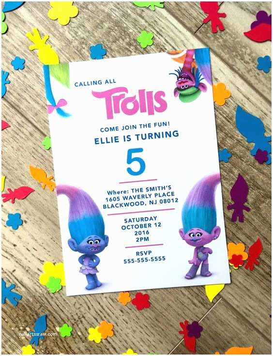 Trolls Party Invitations Printable Troll S Birthday Party Invitations