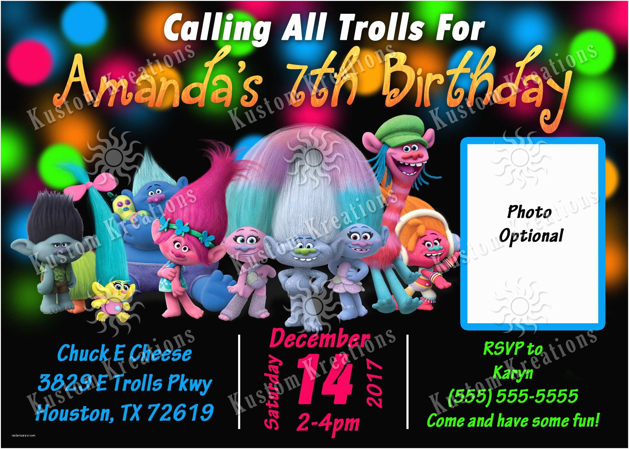 Trolls Party Invitations Trolls Birthday Invitations